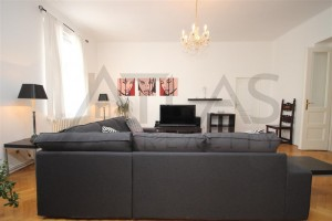 Spacious living area -  For Rent: Luxury furnished 2BDR apartment ( 4+1 ) 132 sqm, Biskupská str, Praha 1 - Nové Město