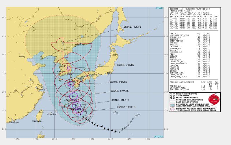 První super tajfun v roce 2020. Haishen ohrožuje Japonsko a Jižní Koreu